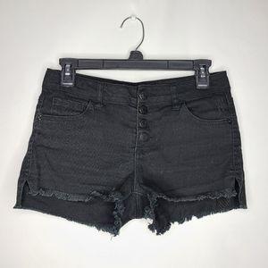 Blue Asphalt Black High Waist Shorts